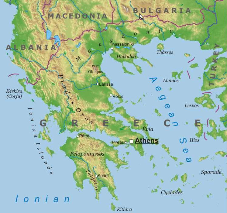 Greece Physical Map Jpg Infomobile