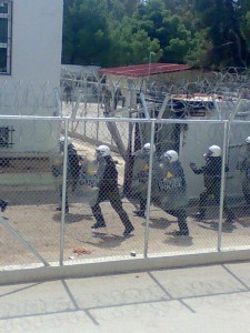 Riot police entering Corinth detention centre
