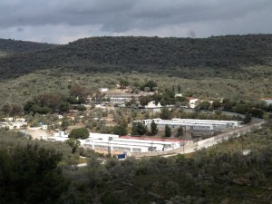Moria in April 2014 while the construction of the fences was not yet finished