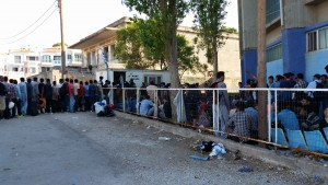 Queue for registration in the port of Mytilene