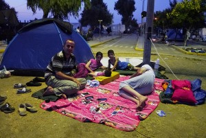 Syrian family in Kara Tepe tent camp