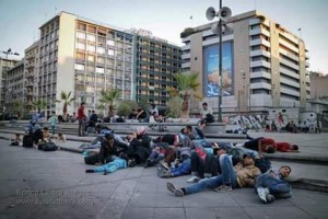 Homeless refugees in Omonia Square