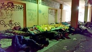Refugees sleeping on the port of Mytilene / copyright: Salinia Stroux