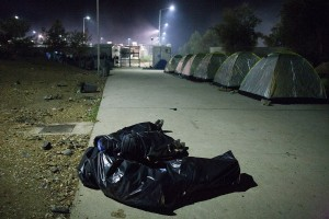 Sleeping in the garbage bags / copyright: Salinia Stroux