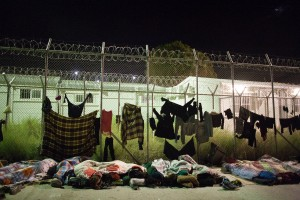 Refugee sleeping outside of the almost empty First Reception Centre / copyright: Salinia Stroux