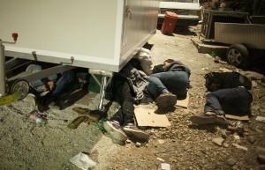 Syrians sleeping in Moria / copyright: Salinia Stroux